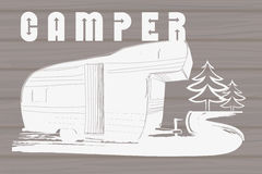 Illustration of isolated Hand Drawn, doodle Camper Royalty Free Stock Images