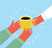 Illustration of an isolated hand giving a cup of coffee. Vector cartoon colorful illustration of an isolated hand giving a cup of coffee in hand of another Royalty Free Stock Photos