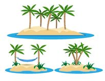 Illustration of isolated island with palm trees Royalty Free Stock Photo