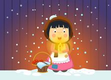 Illustration of isolated the little match girl fairy tale. Vector Stock Photo