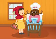 Illustration of isolated little Red Riding Hood fairy tale. Vector Royalty Free Stock Photography