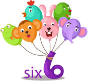 Number 6 character with balloons Royalty Free Stock Photos