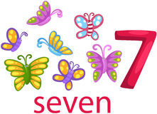 Number 7 character with butterflies Royalty Free Stock Image
