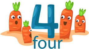 Number 4 character with carrots Stock Photography