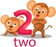 Number 2 character with monkey Royalty Free Stock Photo
