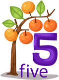 Number 5 character with orange tree stock illustration