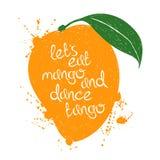 Illustration of isolated orange mango fruit silhouette. Royalty Free Stock Photo