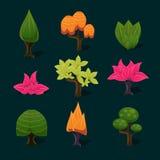 Illustration Isolated Set of Cartoon Tree Stock Photos