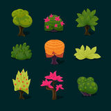 Illustration Isolated Set of Cartoon Tree Stock Photos
