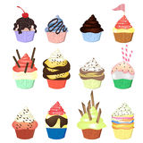 Illustration of isolated set of cupcakes  on white Stock Photos