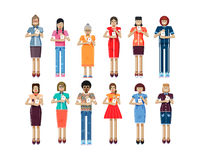 Illustration isolated set of European, African-American women with smartphone in hands Stock Photo