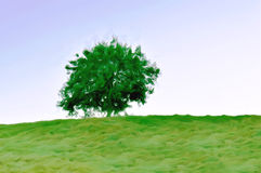 Illustration of Isolated tree on top of a hill seen from lower level Stock Photography