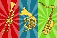 Illustration with isolated trumpets and saxophone Royalty Free Stock Image