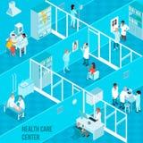 Illustration isométrique centrale de soins de santé illustration libre de droits