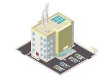 Illustration isométrique d'une icône d'Internet de centrale électrique Photos stock