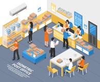 Illustration isométrique de bureau de poste illustration libre de droits