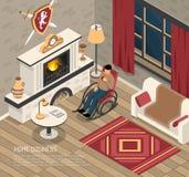 Illustration isométrique de Cosiness d'endroit du feu illustration libre de droits