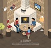Illustration isométrique de famille d'endroit du feu illustration stock