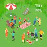 Illustration isométrique de pique-nique de famille illustration stock