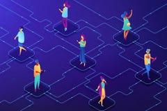 Illustration isométrique de réseau de vecteur social de concept illustration libre de droits
