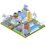 Illustration isométrique de vecteur d'une centrale thermique thermique fonctionnant sur des sources d'énergie alternatives illustration de vecteur