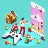 Illustration isométrique de vecteur de jeu de jeu vidéo d'informaticiens illustration stock