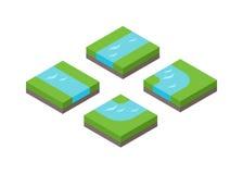 Illustration isométrique de vecteur de paysage d'agriculture de la terre 3d Photos libres de droits