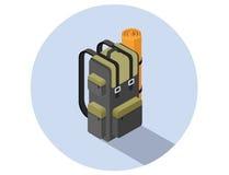 Illustration isométrique de vecteur de sac à dos de camping Photos stock