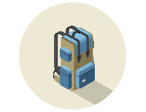 Illustration isométrique de vecteur de sac à dos de camping Image libre de droits