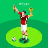 Illustration isométrique de vecteur des jeux 3D d'été de gagnant du football Image stock
