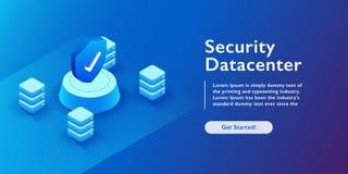 Illustration isométrique de vecteur de sécurité de Datacenter Fond abstrait de pièce du serveur principal 3d ou du centre de trai illustration stock