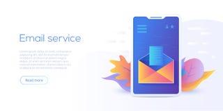 Illustration isométrique de vecteur de service de messagerie électronique Mes de courrier électronique illustration de vecteur