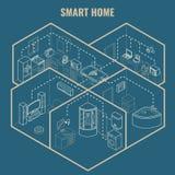 Illustration isométrique futée de modèle du vecteur 3d de concept de maison Photos libres de droits