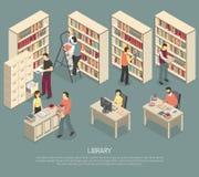 Illustration isométrique intérieure d'archives de bibliothèque de documents Images stock