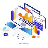 Illustration isométrique moderne de couleur plate - analyse de données illustration stock