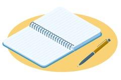 Illustration isométrique plate de carnet ouvert Bloc-notes de papier VE illustration stock