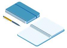 Illustration isométrique plate de carnet de papier fermé et ouvert illustration de vecteur