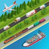 Illustration isométrique plate de vecteur de réseau global de logistique illustration libre de droits