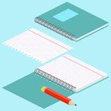 Illustration isométrique sur un fond bleu avec l'image du carnet, du crayon, du carnet de notes à spirale ouvert et du papier ray Photo stock