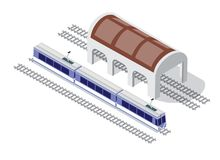 Isometric high-speed train. Illustration isometric high-speed train metro on the tracks in the city block near the hangar warehouse building Stock Image