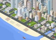 Illustration isometric large city vector illustration
