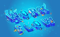 Illustration Isometric Vector and Work Flow. royalty free illustration
