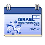 Illustration of Israel independence Day. Flag and fireworks. Cartoon calendar. 2 May greeting card stock illustration