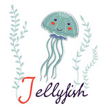 Illustration of J is for Jellyfish Stock Photos
