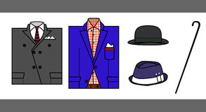 Illustration jacket, hat and cane. Images of two jackets, gray and blue, and two hats to them with his cane. Some bits and pieces Stock Illustration