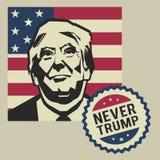 Illustration jamais Donald Trump, conception plate Images libres de droits