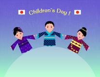 Illustration of Japanese children in traditional costume-kimono in honor of children`s day Royalty Free Stock Images
