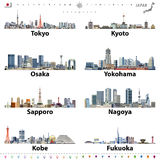 Illustration of japanese city skylines with location, navigation and travel icons; flag and map of Japan Stock Photos