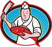 Japanese Fishmonger Butcher Chef Cook. Illustration of a Japanese fishmonger butcher chef cook with knife holding red fish on isolated background Royalty Free Stock Photography