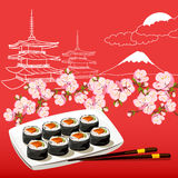 Illustration with Japanese motifs Royalty Free Stock Photos